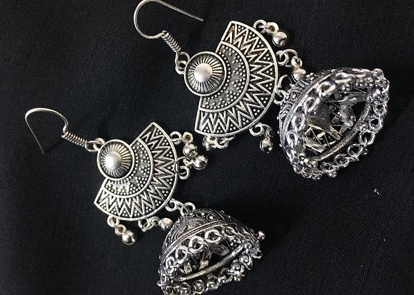 Handmade oxidised silver jumkas