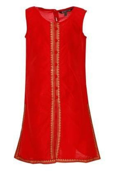 Red kurti with gold block print