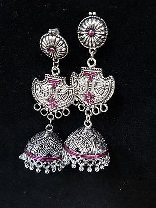 Pink tainted oxidised silver jumkas