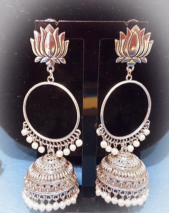 Handmade Pearl jumkas with lotus studs