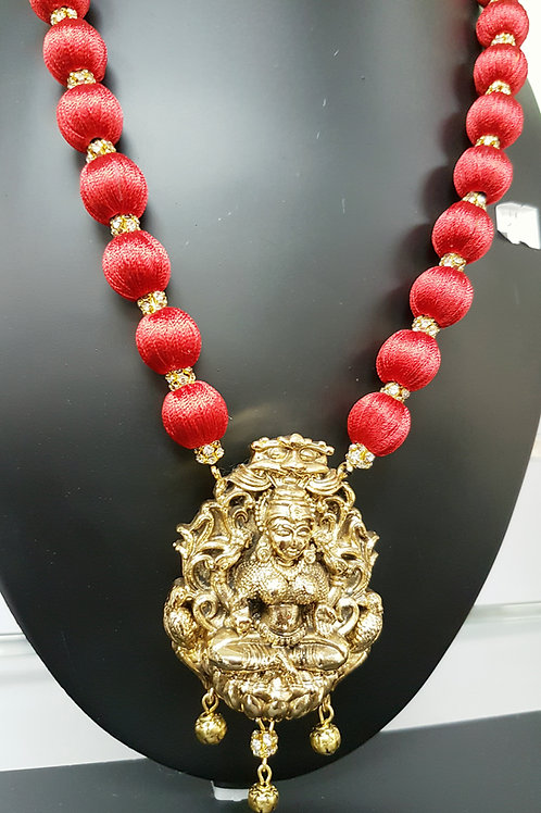 Red silk thread wrapped temple jewelry set