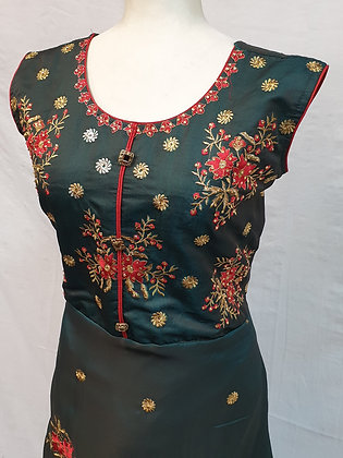 Dark Green Embroidered Long Gown