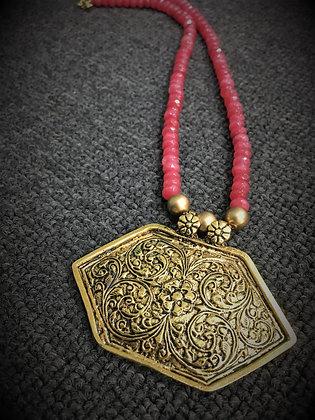 Handmade red gemstone necklace