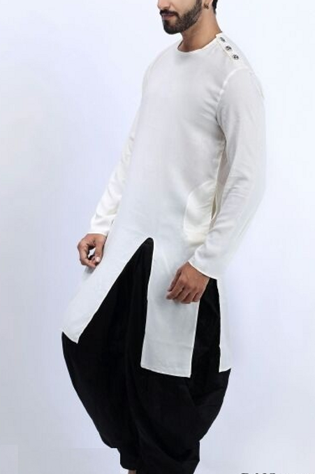 White and black dhoti set