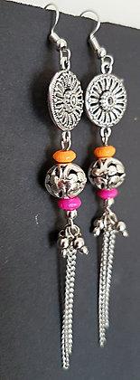 Orange and Pink trendy silver dangle earrings