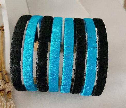 Blue and black stylish silk thread cuff bracelet