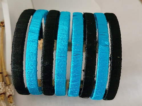 Blue and black stylish silk thread cuff bracelet