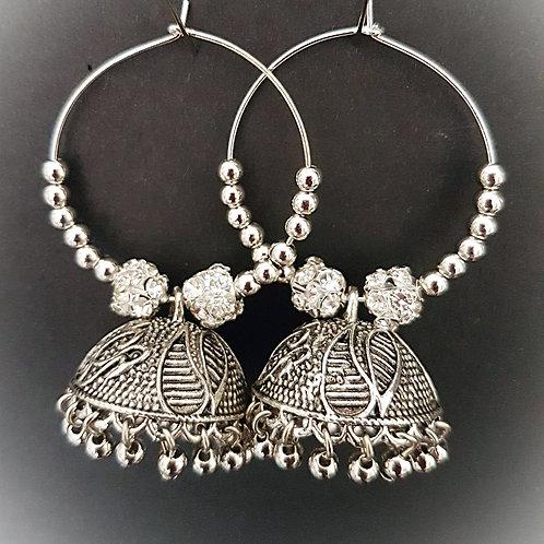 Classic silver jumkha hoops