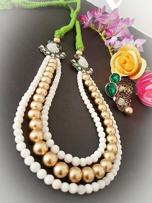 Handmade green dori necklace set