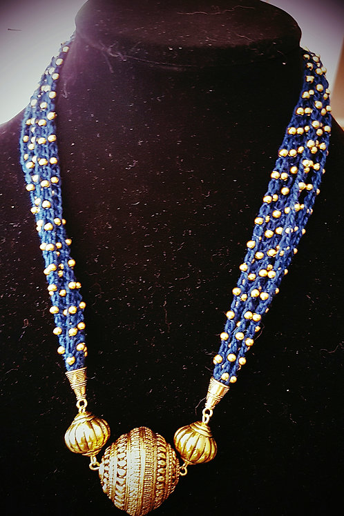 Blue with gold crocheted necklace