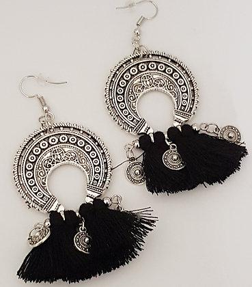 Silver bohemian earrings with black tassels