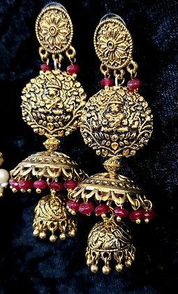 Antique gold toned Lakshmi jumkas
