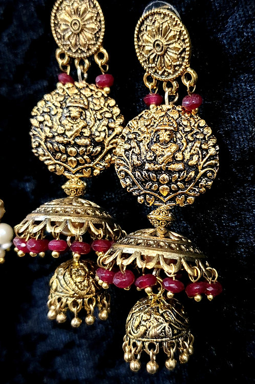 Antique gold toned Lakshmi jumkas