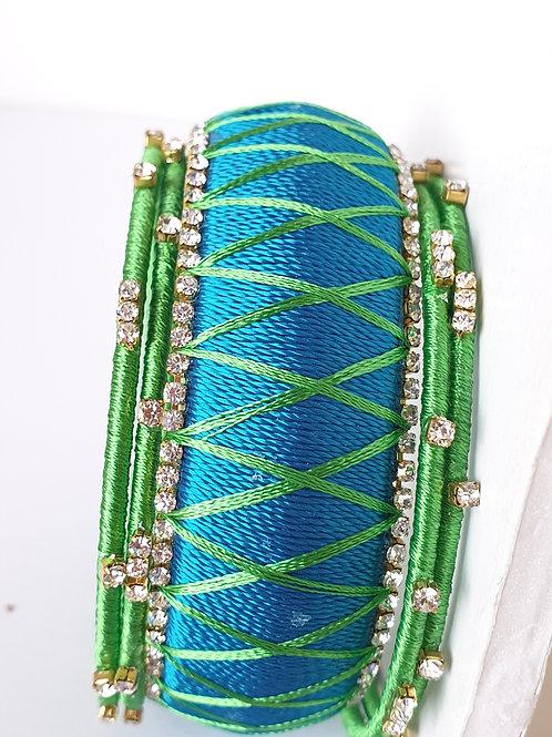 Green and blue handmade silk thread bangles set