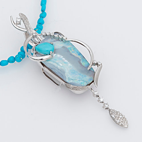 K18WG opal neck
