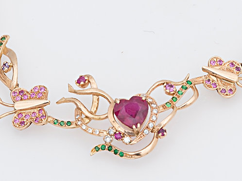 Flower garden ruby heart choker