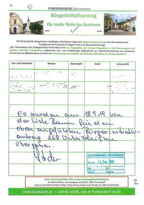 Unterschriften, mehr Grün im Zentrum, liste baum & grüne, purkersdorf