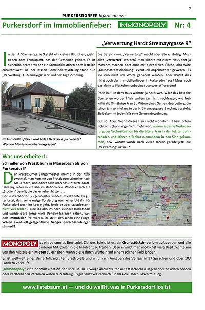 Purkersdorf im Immobilienfieber - Baustopp - Liste Baum Grüne