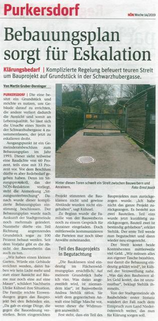 Purkersdorf im Immobilienfieber - Baustopp - Liste Baum NÖN