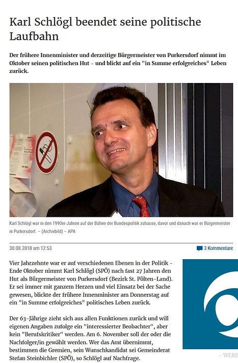 Karl Schlögl tritt ab als Bürgermeister