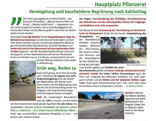 Purkesdorf, Liste Baum, mehr Grün im Zentrum, keine Versiegelung