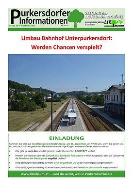 Umbau Bahnhof Unter-Purkersdorf, Liste Baum & Grüne, Chancen vergeben,