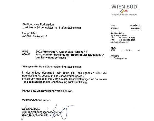 Schreiben Wien Süd an Gemeinde Baum Schw