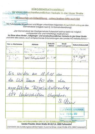 Unterschriften Verkehr Liste, Baum &  Grüne, purkersdorf