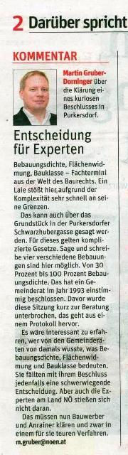 NÖN Purkersdorf Baustopp Liste Baum