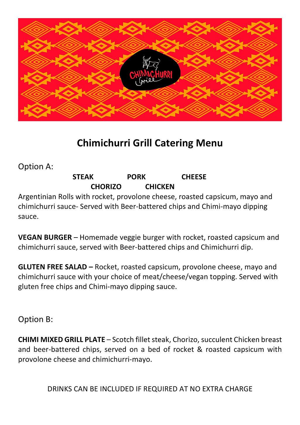 Chimichurri Grill Catering menu NP 2020-