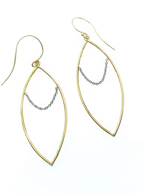 14K marquise shape with platinum chain drape earrings