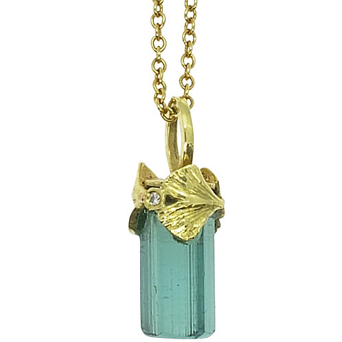 Raw Indicolite crystal with Ginkgo cap and diamonds