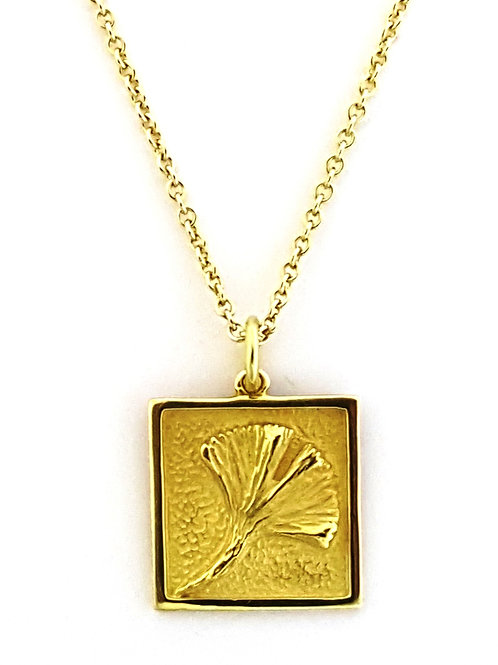 Square Ginkgo talisman necklace