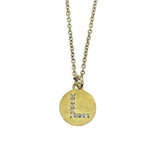 Magic diamond initial necklace L