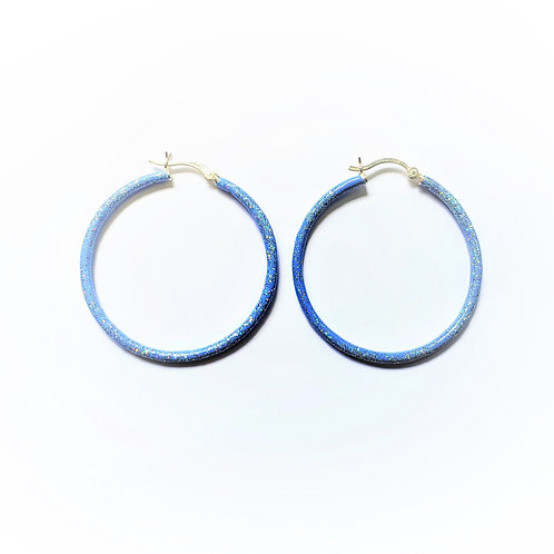 Birthstone glitter enamel sparkle hoops-December-Tanzanite