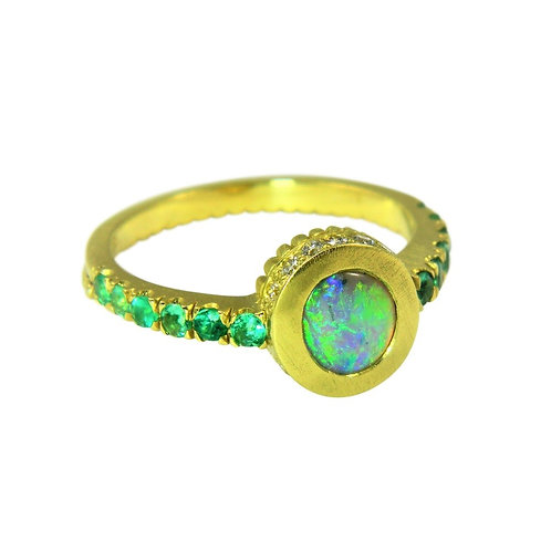 Opal, diamond and Emerald ring