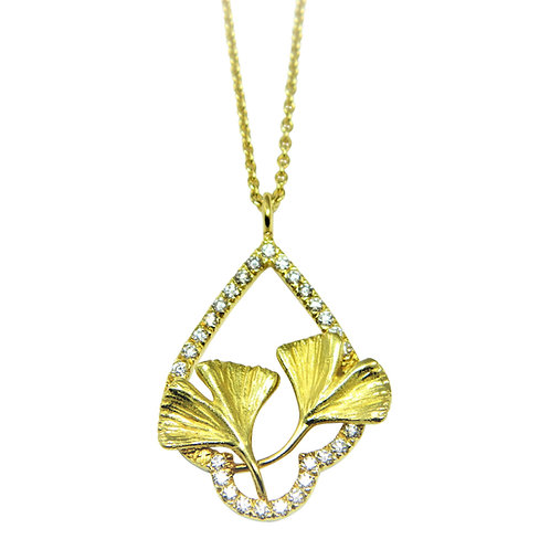 Diamond framed double Ginkgo leaves necklace
