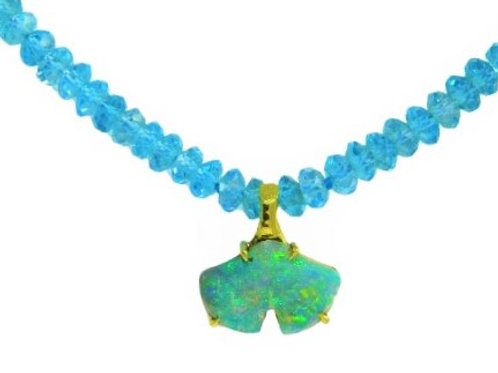 Blue topaz bead necklace with Opal Ginkgo