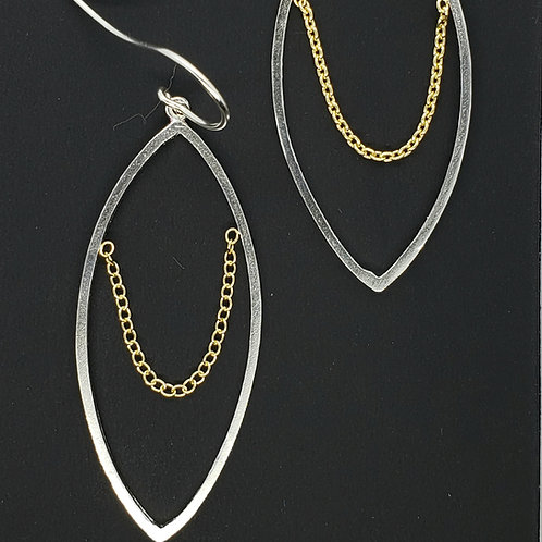 Marquise  open geo shape with draping chain