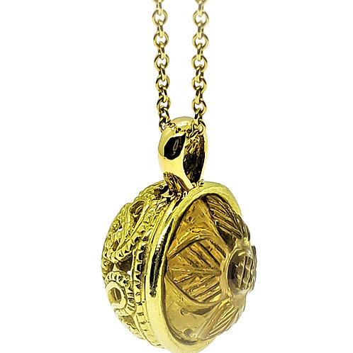 Two faced ball with carved Citrine and gold paisley ball necklace