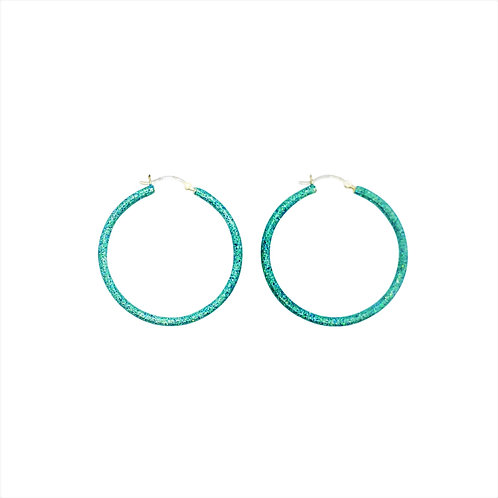 Birthstone glitter sparkle enamel  hoop earrings-March-Aqua