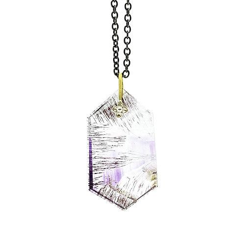 Hexagon slice amethyst necklace