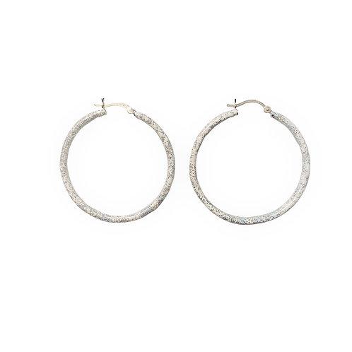 Birthstone glitter enamel sparkle hoops-June-Pearl