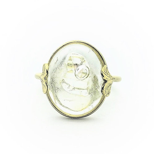 Enhydro moving bubble gemstone ring with baby Ginkgo detailing