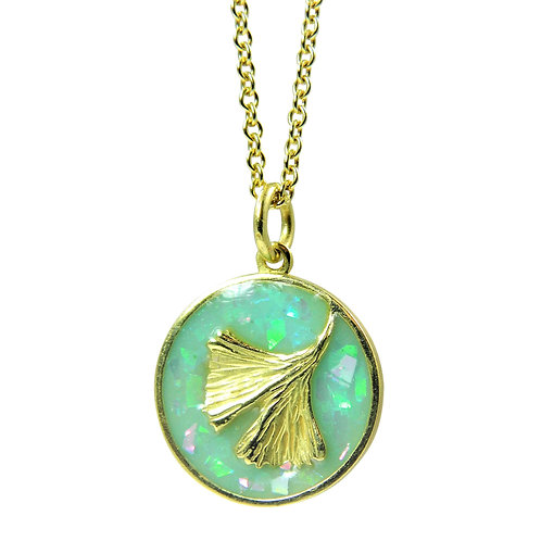 Round Ginkgo talisman necklace with Opalized enamel