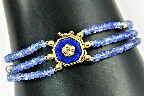 3 Row Tanzanite bead and Lapis Lazuli octagonbracelet