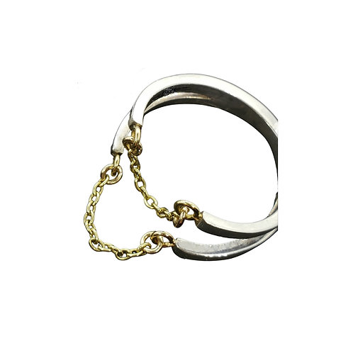 Mixed metals split ring with 2 chain drapes