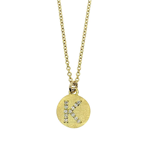Magic diamond initial necklace K
