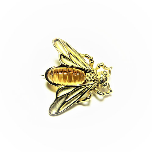 Bee with carved citrine tail brooch/pin