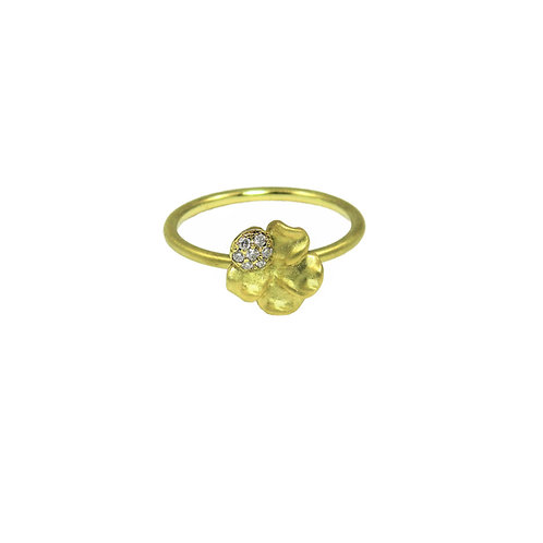 Small pansy diamond ring